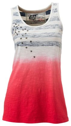 Natural Reflections® Dip Dye Stripe Tank Top for Ladies | Bass Pro Shops // Decorated with star studs across the chest, this tank top features reverse print stripes and a red