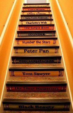 I really want a house with a staircase, just not very practical now. Staircase Painting Ideas Transforming Boring Wooden Stairs with Cool Designs Painted Staircases, Painted Stairs, Wooden Stairs, Stenciled Stairs, Hardwood Stairs, Stairs Flooring, Tile Stairs, Book Staircase, Bookcase Stairs
