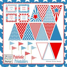 Patriotic Party Printables - FREE for Facebook fans - Red, White and Blue - Party Supplies. $5.00, via Etsy.
