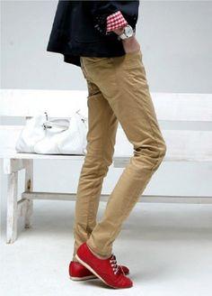 Korean Fashion Men's Slim Casual Gray Yellow Long Trousers Pants