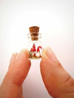 Christmas elf and mushroom in a bottle tiny by MijbilCreatures