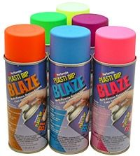 New! Plasti Dip neon Blaze Colors in orange, blue, pink, green, purple and yellow