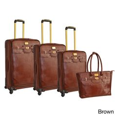 Adrienne Vittadini 4-piece Fashion Spinner Luggage Set @Lauren Pitcairn what about this one?  This listing is currently out of stock but I  Iike the brown leather with gold detailing