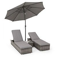 Oxford Sunbed And Side Table Rattan Sun Loungers