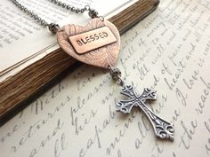 Blessed Heart Necklace Etched Copper Pendant Rustic Word Stamped Blessed Inspirational Cross Religious Christian. $54.00, via Etsy.