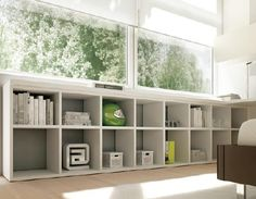 bibliotheque basse longue 16 cases