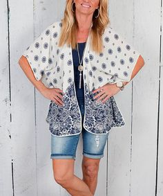 Look at this Luxe Couture White & Navy Blue Floral Kimono on #zulily today!