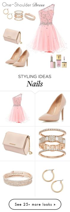 """""""Party Style: One shoulder dress"""" by a232unicorn on Polyvore featuring Dorothy Perkins, Givenchy, Nordstrom, Anne Klein, Yves Saint Laurent and Clarins"""