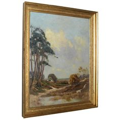 19th Century English Oil Painting in Antique Giltwood Frame | From a unique collection of antique and modern paintings at https://www.1stdibs.com/furniture/wall-decorations/paintings/