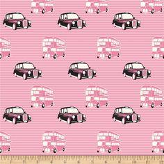 Riley Blake British Invasion Taxi Pink - fabric.com
