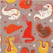 grey Alexander Henry fairy tale baby dragon fabric