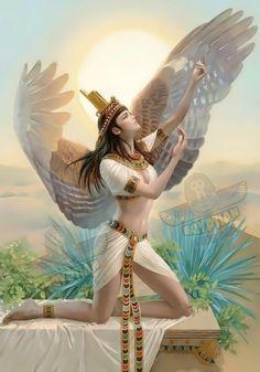 Isis Goddess, Goddess Art, Egyptian Mythology, Egyptian Art, Ancient Egypt Art, Religion, Angel Art, Gods And Goddesses, Oil Painting On Canvas