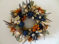 Spring Dried Flower Wreath- Hanging Wreath. €38.90, via Etsy.