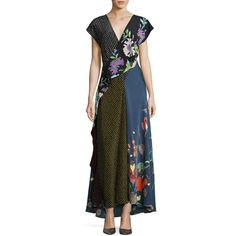Diane Von Furstenberg Draped Mixed-Print Floral & Dot Silk Maxi Dress ($698) ❤ liked on Polyvore featuring dresses, multi, draped maxi dress, v neck dress, flower print dress, v-neck maxi dresses and diane von furstenberg dress