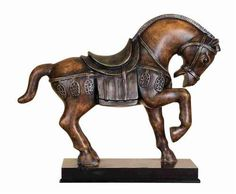 """12"""" Chinese Tang Dynasty Horse Statue With One Leg Up"""