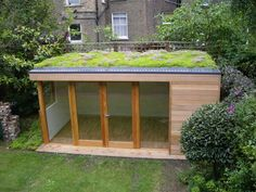 Backyard studio, backyard sheds, sedum roof, flat roof shed, garden works. Backyard Studio, Backyard Sheds, Garden Studio, Flat Roof Shed, Flat Roof Repair, Pergola With Roof, Patio Roof, Pergola Kits, Pergola Ideas