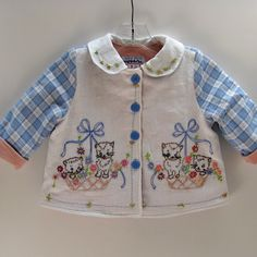 Embroidered Baby Kittens Jacket Size 3 by JackieSpicer on Etsy, $52.00