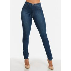 Ultra-High-Waist Blue Skinny Jeans ($30) ❤ liked on Polyvore featuring jeans, pants, high rise skinny jeans, blue skinny jeans, blue high waisted jeans, cut skinny jeans and high waisted skinny jeans