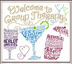 Lets go to Therapy cross stitch pattern.