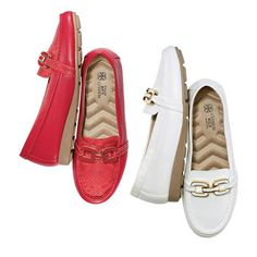 """CUSHION WALK JAZZY ENAMEL LOAFER ■ Back by popular demand...in a new style featuring the ultrachic enamel hardware that's enjoying a major fashion moment. Printed snakeskin accenys. 1/2"""" H demi wedge. Cushion Walk wave-molded footbed.  Available in Red and White and in sizes 6M-11M. Half size, order one size up.  $29.99 Visit my online store @ www.youravon.com/amartinez8866"""