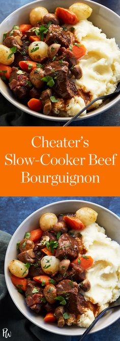 Cheater's Slow-Cooker Beef Bourguignon. You're too busy to stand over the stove. Instead, throw everything into your Crock-Pot for magically tender, flavorful results.
