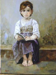 I MIEI DIPINTI Copia da The hard lesson di W.A. Bouguereau - oilo su tela