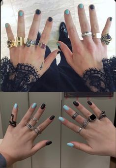 Black Coffin Nails, Acrylic Nails Coffin Short, Simple Acrylic Nails, Best Acrylic Nails, Grunge Nails, Swag Nails, Larry Stylinson, Cute Nails, Pretty Nails