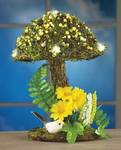 LED Floral Mushroom Tabletop Decor