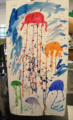 There's a Dragon in my Art Room: jellyfish with watered down tempera