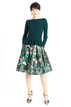 A bird in the hand... A green twisted knit over a flowy printed skirt define Garden Party whether outdoors in Spring or indoors under ceiling supported branches and golden lights.   Oscar de la Renta | Pre-Fall 2014 Collection | Style.com
