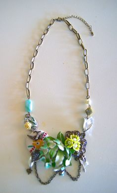Mums the word floral statement necklace by KarenDoane on Etsy