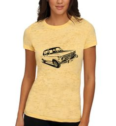 BMW 2002tii Women's Burnout Tee. Yellow (Banana Cream) w/ Black Ink. Get your customized burnout tee at ConcoursGallery.com