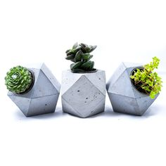 Concrete geometric planter, handmade concrete, slick minimalist... ($17) ❤ liked on Polyvore featuring home, home decor, cactus home decor, handcrafted home decor, concrete planters, cactus planter and handmade home decor