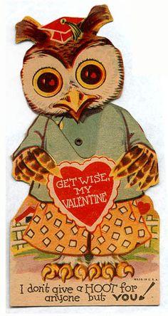 Get wise, my valentine - Owl Vintage Valentine