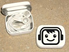 Headphones Tin with face New Design white hinged tin by tinytins, $4.99