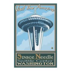 Space Needle - Seattle, WA Retro Travel Poster  Nice Retro poster.  I often mistake the Stratosphere Tower for the Space Needle upon quick view.