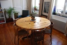 Reel dining table / Table Touret in furniture  with Wood Upcycled Table Reel Recycled