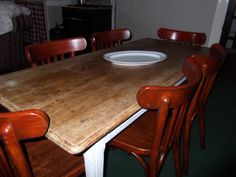 White washed the table legs, left the oak top natural and stained the original cafe chairs, the start of my kitchen revamp!