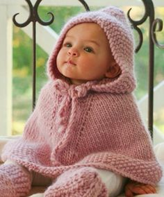 Knitted Hooded Baby Poncho Pattern Free Tutorials | The WHOot
