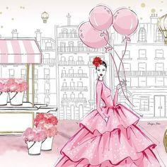 Parisian Fairytale Design by Megan Hess Megan Hess Illustration, Fashion Illustration Sketches, Fashion Sketches, Fashion Drawings, Fashion Sketchbook, Arte Fashion, Pink Fashion, Fashion Women, Fashion Fashion