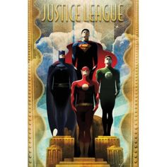Justice League Team Art Deco Comics Poster Superman Batman >>> Check this awesome product by going to the link at the image. Dc Comics Poster, Dc Comics T Shirts, Batman Poster, Comic Poster, Dc Comics Art, Poster Poster, Marvel Comics, Movie Posters, Justice League Poster