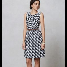Karen walkers architectural shift Blue and white design with brown belt with a small bow Anthropologie Dresses