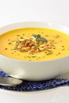 Butternut Bisque with Brown Butter Sage Pine Nuts - incredibly delicious and super easy to throw together.