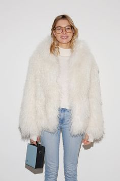 Model Jessica Hart, touting a jacket from Dion Lee's Pre Fall 2016 collection, attending the Dion Lee fashion show on February 2016 in New York City Looks Style, Style Me, Fashion Gone Rouge, Textiles, Black Denim, Autumn Winter Fashion, What To Wear, Style Inspiration, Outfits