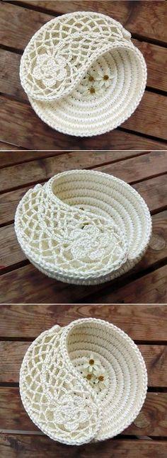 """Crochet Tutorial foto - Yin Yang Paisley joyas plato 6"""". Sostenedor de la joyería, joyería de la placa, caja de la baratija, regalo DIY ganchillo patrones de ganchillo."""