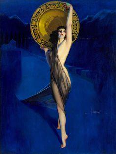 Rolf Armstrong (1889-1960) - The Enchantress, 1925-1929. La donna dalla carnagione chiara si staglia dal sottofondo scuro.