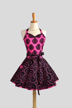 Sweetheart Retro Apron , Sexy Womens Apron in Fucshia and Black Damask with Black and Fucshia Swirls on Etsy, $42.00