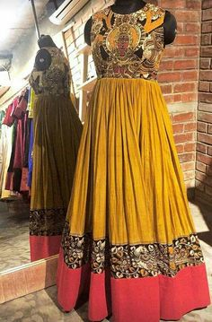 Order contact my whatsapp number 7874133176 and Indian Gowns, Pakistani Dresses, Indian Outfits, Long Gown Design, Long Gown Dress, Long Frock, Half Saree Designs, Dress Designs, Kalamkari Designs