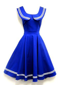 New Ladies VTG 1940's 50's Blue Nautical Sailor style Rockabilly Swing Dress  very cute