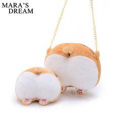 Mara's Dream 2017 Cute Corgi Butt CrossBody Bag Small Cute Pet Dog Plush Cross Body Bag Creative Christmas Gift for Kids  #Affiliate
